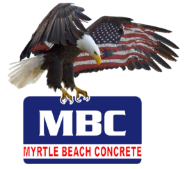 Myrtle Beach Concrete Logo of a bald eagle with an American flag wing